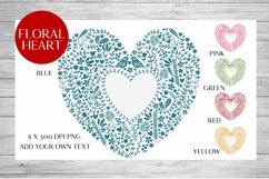 Scandinavian Style Floral Heart Wedding, Anniversary PNG Product Image 1