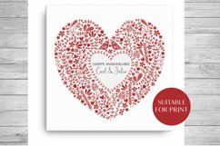 Scandinavian Style Floral Heart Wedding, Anniversary PNG Product Image 4