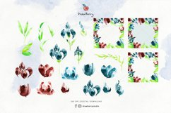Red & Navy Blue Flowers Watercolor Art   Drawberry CP064 Product Image 2
