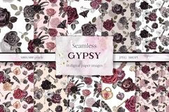 Vintage Goth Watercolor Rose Floral Seamless Patterns Product Image 1