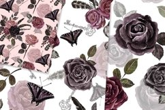 Vintage Goth Watercolor Rose Floral Seamless Patterns Product Image 3