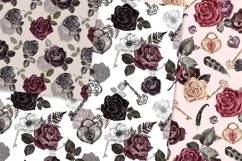 Vintage Goth Watercolor Rose Floral Seamless Patterns Product Image 4