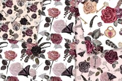 Vintage Goth Watercolor Rose Floral Seamless Patterns Product Image 5