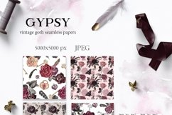 Vintage Goth Watercolor Rose Floral Seamless Patterns Product Image 2
