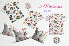 Watercolor spring birds and flowers. Product Image 5