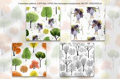 Hedgehog in the forest clipart and patterns Product Image 3