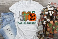 Peace Love Halloween Skeleton Hand Peace Sign PNG Design Product Image 2