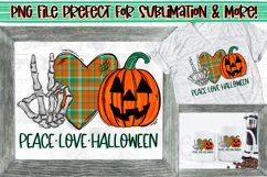 Peace Love Halloween Skeleton Hand Peace Sign PNG Design Product Image 1