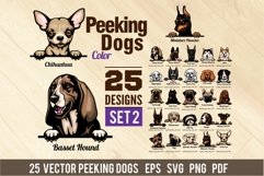 Peeking Dogs - Color Set 2 - 25 vector designs Product Image 1