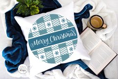 Merry Christmas Plaid Pattern SVG | Round Winter Welcome Product Image 2