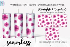 Pink Flowers Seamless Skinny Tumbler Sublimation Wrap 20 Oz Product Image 1