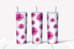 Pink Flowers Seamless Skinny Tumbler Sublimation Wrap 20 Oz Product Image 2