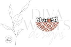 Welcome With Pumpkin And Plaid SVG | Farmhouse Fall Door Han Product Image 2