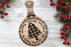Plaid Tree Christmas Words Cutting Board SVG Glowforge Files Product Image 1
