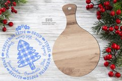 Plaid Tree Christmas Words Cutting Board SVG Glowforge Files Product Image 2