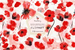 Watercolor Red Poppies Floral Clipart| Drawberry CP056 Product Image 1