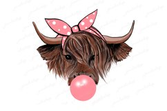 Highland cow with bubble gum and pink bandana PNG Product Image 1