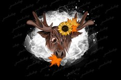 Moose with sunflower and maple leafs PNG Funny Deer clipart Product Image 1