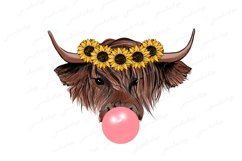 Highland cow with bubble gum and sunflowers wreath PNG Product Image 1