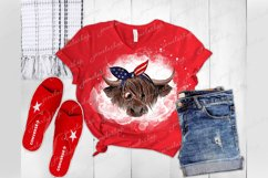 4th July Highland cow with glasses and bandana PNG clipart Product Image 3