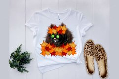 Cat with maple leafs wreath clipart, Autumn PNG sublimation Product Image 4
