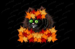Cat with maple leafs wreath clipart, Autumn PNG sublimation Product Image 2