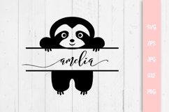 Cute Sloth Custom Name SVG File Product Image 1