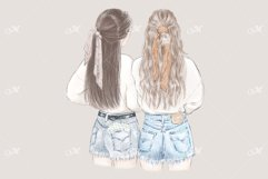 Best Friends in Sweatshirts Illustration - PNG/JPEG/PSD Product Image 2