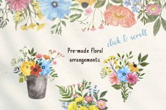 Summer Wildflowers Clipart Watercolor Floral Bicycle Bee Product Image 3