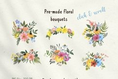 Summer Wildflowers Clipart Watercolor Floral Bicycle Bee Product Image 2