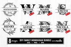 Family monogram split letter diy bundle svg Product Image 1