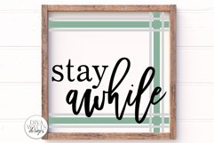Stay Awhile Plaid SVG | Farmhouse Sign with Ticking Stripes Product Image 1