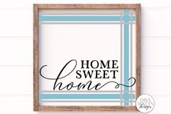 Home Sweet Home Plaid SVG | Ticking Stripes Frame Sign | DXF Product Image 1