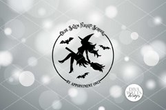 Olde Salem Flight School SVG | Halloween Round Sign Product Image 3
