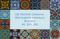 28 Vector Ceramic Patterned Mosaics Bundle Product Image 1