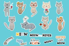 Doodle cats printable cricut stickers. PNG, JPG, EPS. Product Image 2