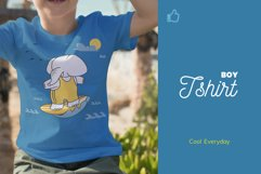 Cute Elephant Surfing Themed Illustration Plus Pattern Product Image 2