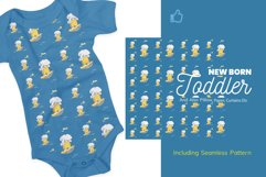 Cute Elephant Surfing Themed Illustration Plus Pattern Product Image 3