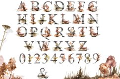 Watercolor Alphabet clipart. Floral letters and numbers Product Image 2