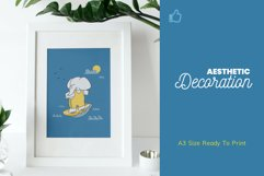 Cute Elephant Surfing Themed Illustration Plus Pattern Product Image 4