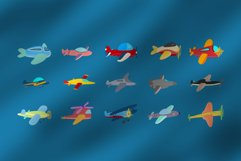 Cute 15 Airplanes Clipart Set Plus Pattern Product Image 5