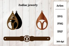 Zodiac Jewerly SVG. Zodiac Sings. Aries Earring, Bracelet Product Image 1