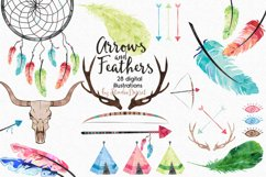 Arrows and Feathers - Tribal Watercolor Illustrations Product Image 1