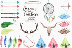 Arrows and Feathers - Tribal Watercolor Illustrations Product Image 2