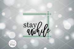 Stay Awhile Plaid SVG | Farmhouse Sign with Ticking Stripes Product Image 2