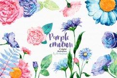 Purple Emotion - Flowers Watercolor Illustrations Product Image 1