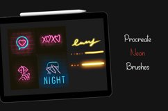 5 Procreate Neon brushes, neon swatches Product Image 1