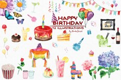 Birthday Watercolor Illustrations Product Image 1