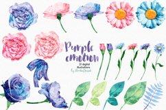 Purple Emotion - Flowers Watercolor Illustrations Product Image 4