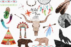 Wild and Free - Tribal Watercolor Illustrations Product Image 1